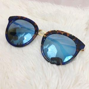 AQS Blue Tortoise Mirrored Round Sunglasses
